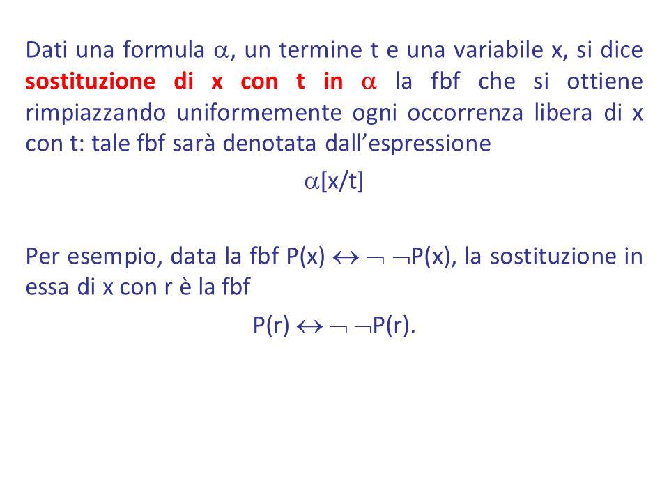 Dati una formula a, un termine t e una variabile x, si dice sostituzione di x con t in a la fbf che si ottiene rimpiazzando uniformemente ogni occorrenza libera di x con t: tale fbf sarà denotata dall'espressione a[x/t] Per esempio, data la fbf P(x)   P(x), la sostituzione in essa di x con r è la fbf P(r)   P(r).